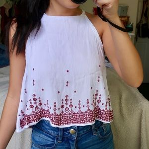 Pacsun White Embroidered Tank Top